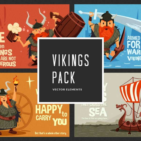 Illustrated Vikings Vector Pack