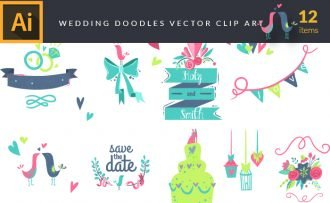 Illustrated Wedding Doodles Vector Pack