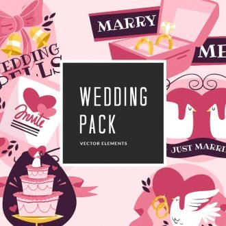 Illustrated Wedding Symbols Vector Pack