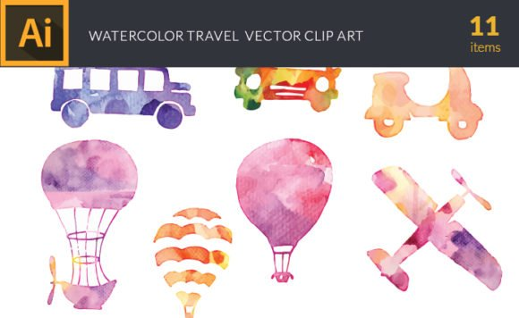 Free Watercolor Travel Vector Set 1