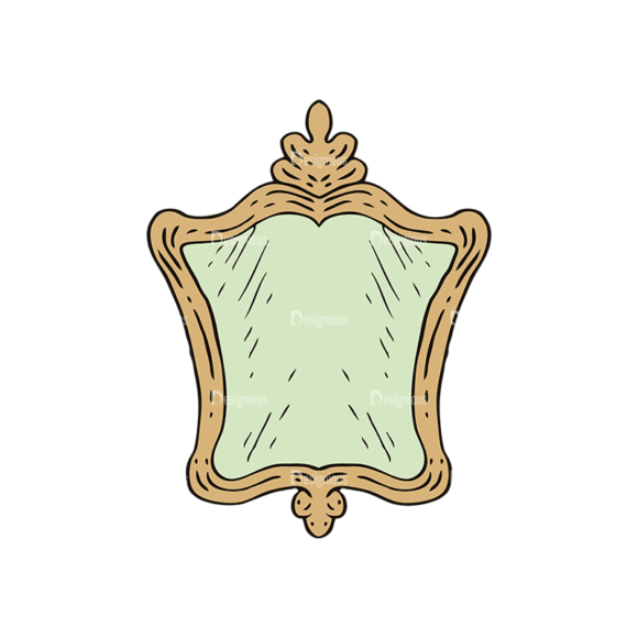 Engraved Vintage Furniture Vector Set 1 Vector Mirror 1