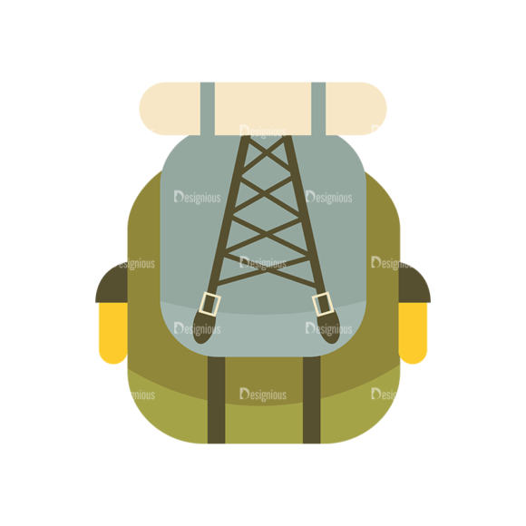Hiking Equipment Vector Infographics Vector Bagpack 1