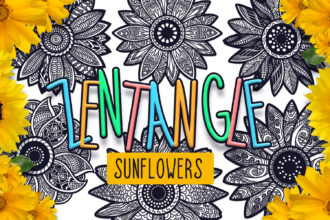 24 Zentangle Sunflowers SVG Cut Files