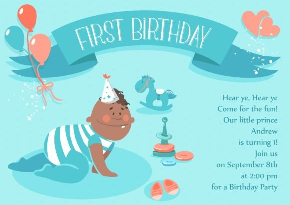Trendy Vector Vector Art: Baby First Year Vector Art Invitation Template 1
