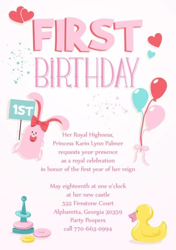 Template Vector Graphic: Baby First Year Vector Graphic Invitation Template 1