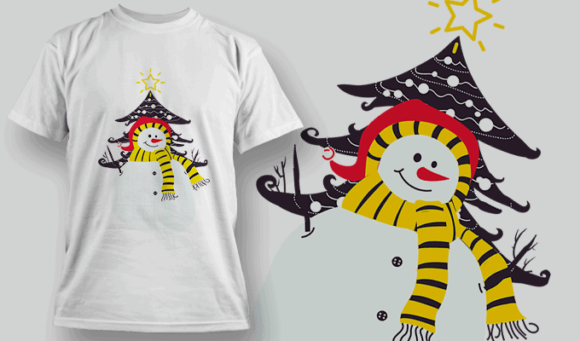 Snowman and Tree | Editable T-shirt Design Template 2236 1