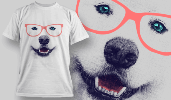 Samoyed With Glasses T-shirt Design Template | T-shirt Design Template 2509 1