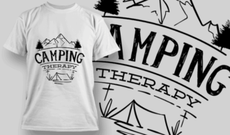 Camping Therapy | T-shirt Design Template 2607