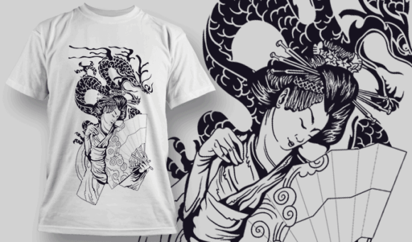 Geisha With Dragon | T-shirt Design Template 2579