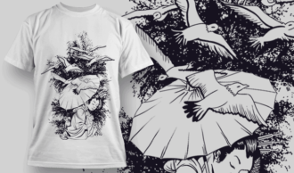 Geisha With Umbrella And Birds | T-shirt Design Template 2581