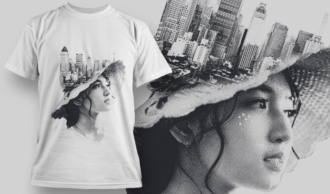 Double Exposure City | T-shirt Design Template 2714