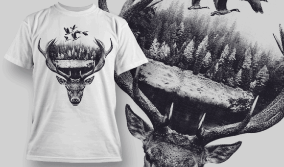 Buck Double Exposure | T-shirt Design Template 2702 1
